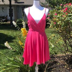 NWT Revamped deep v-neck dress hot pink M
